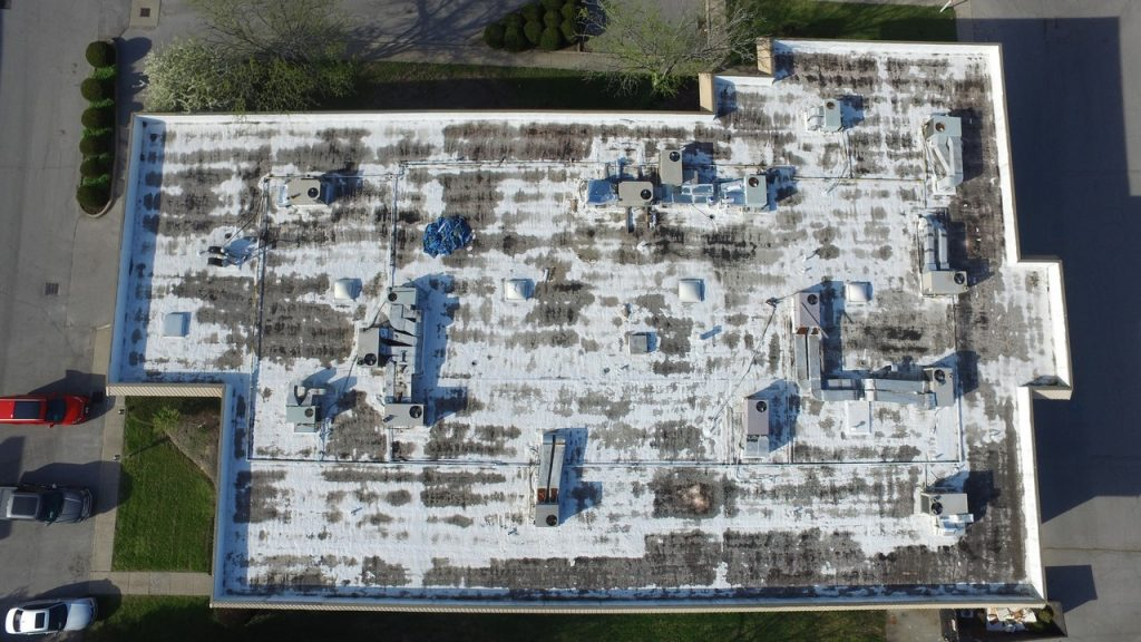 Distressed commercial roof using infrared drone